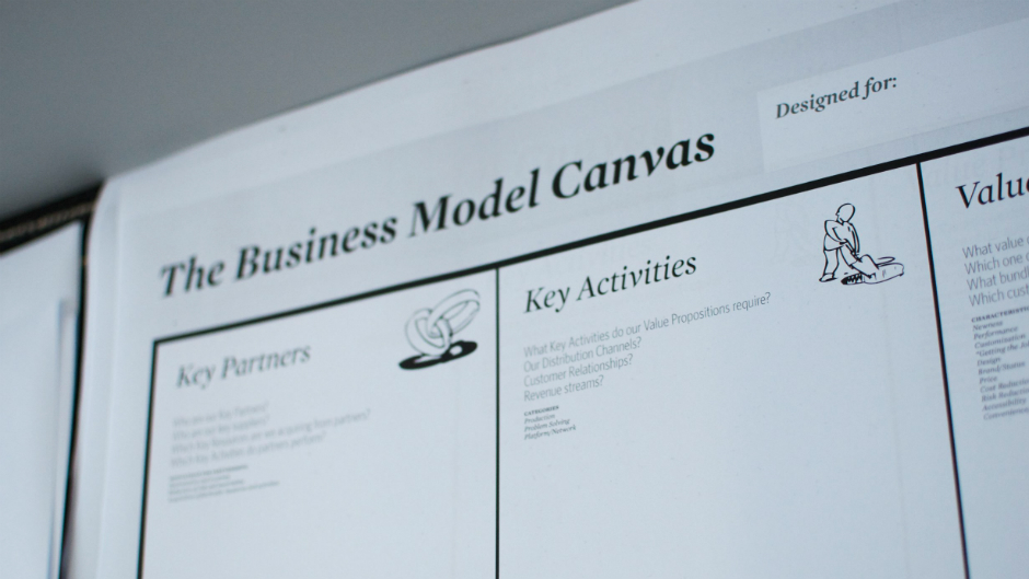Papel de Business Model Canvas na parede