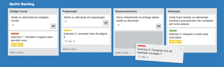 Exemplo de backlog no Trello